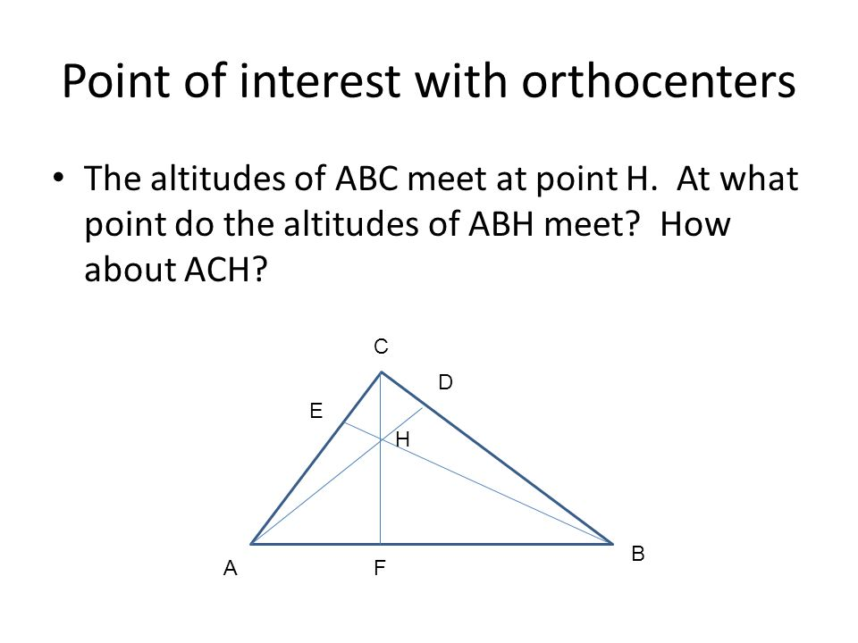 Point of interest with orthocenters