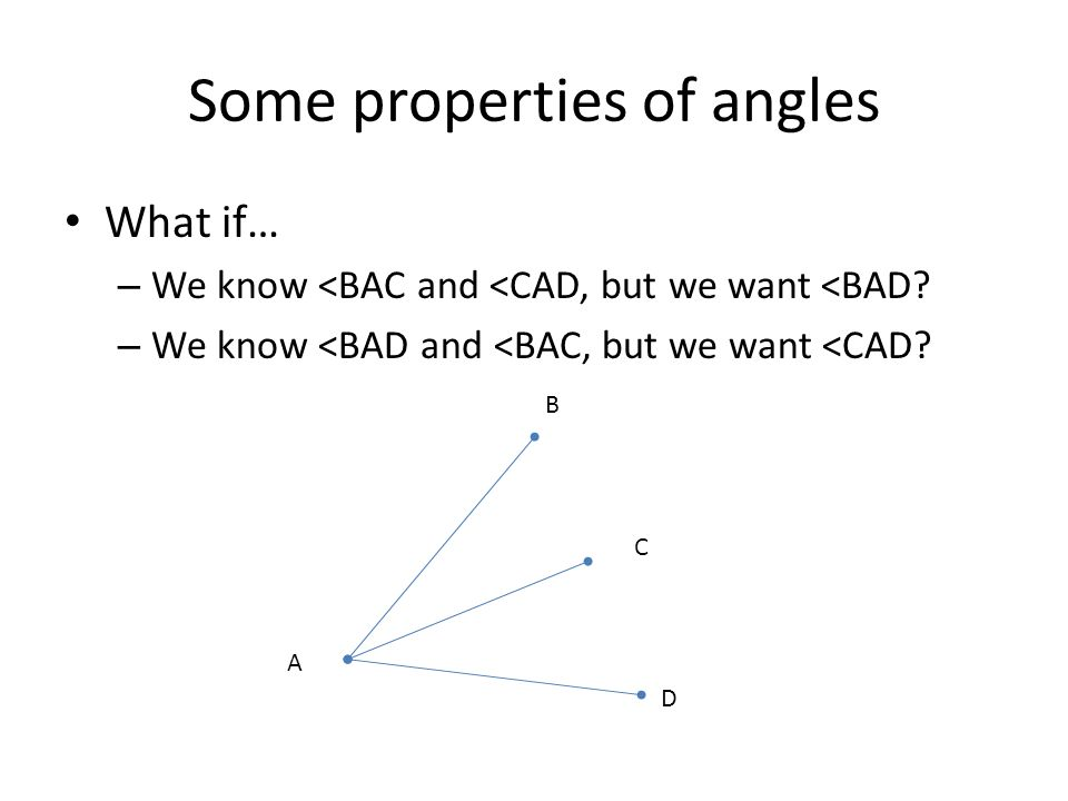 Some properties of angles