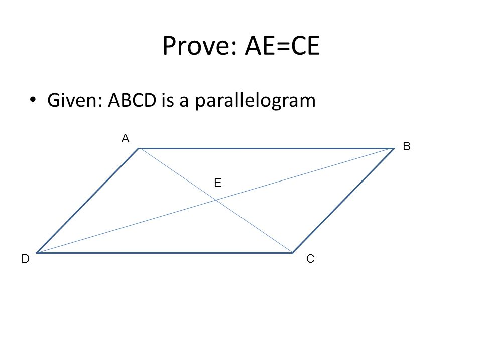 Prove: AE=CE Given: ABCD is a parallelogram A B E D C
