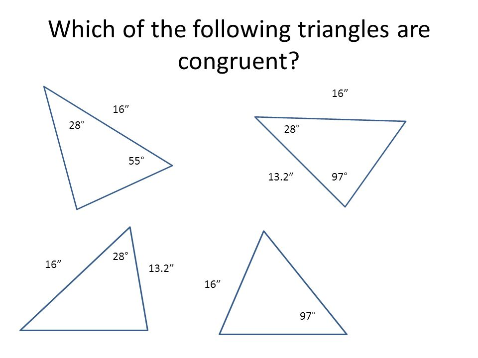 Which of the following triangles are congruent