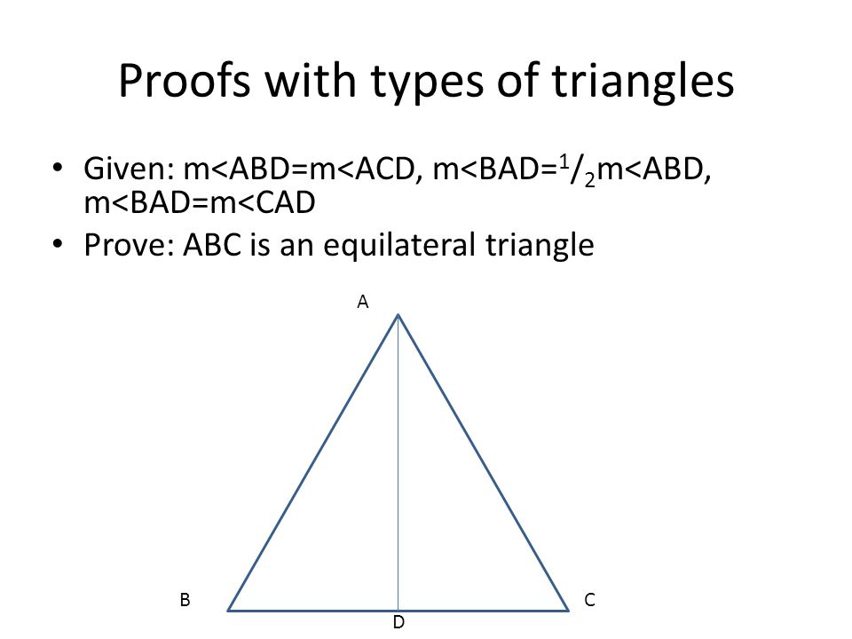 Proofs with types of triangles
