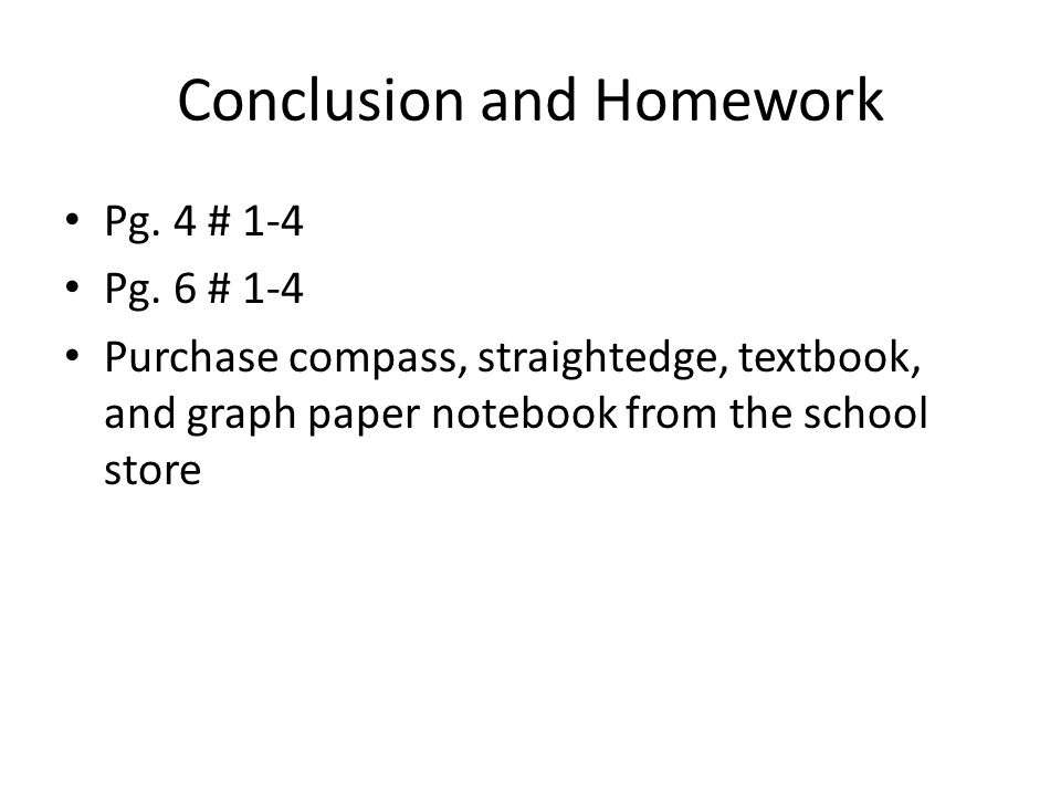 Conclusion and Homework