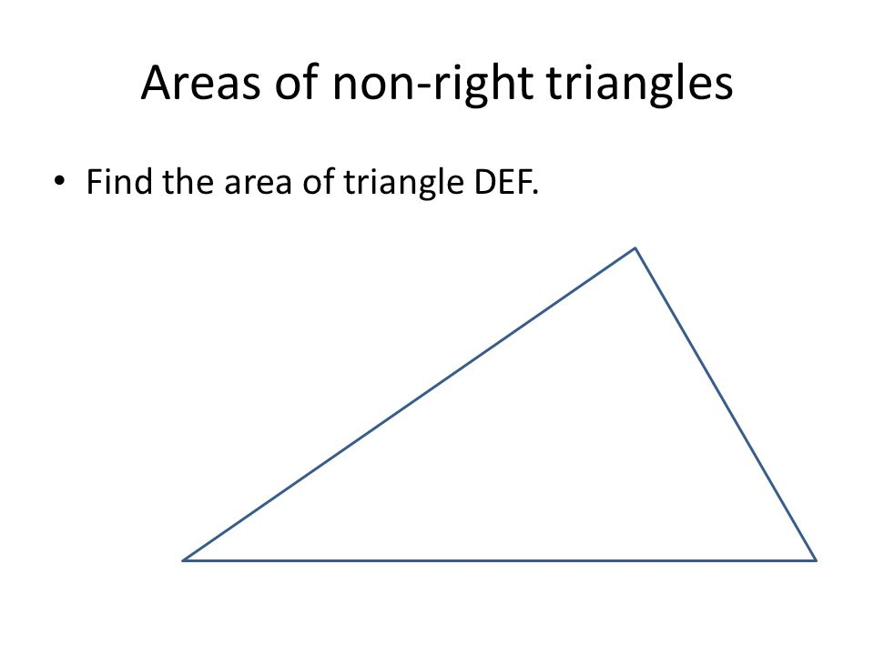 Areas of non-right triangles