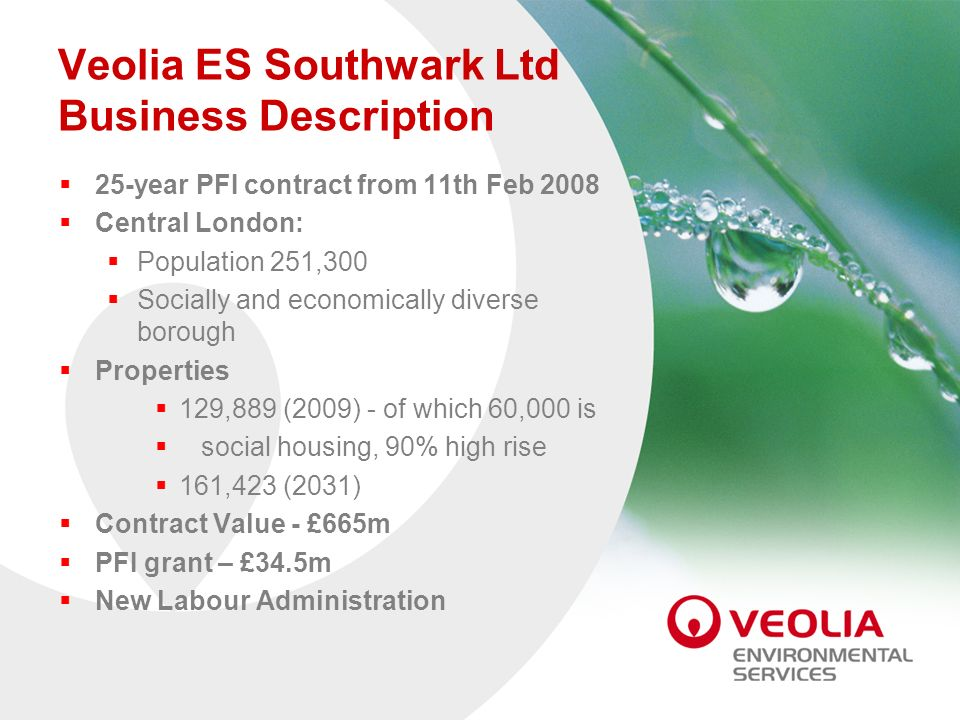 Veolia ES Southwark Ltd Business Description