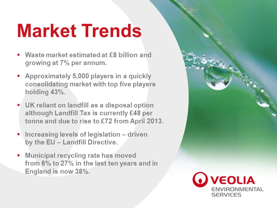 Market Trends Waste market estimated at £8 billion and growing at 7% per annum.