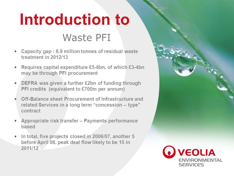 Introduction to Introduction to Waste PFI Waste PFI