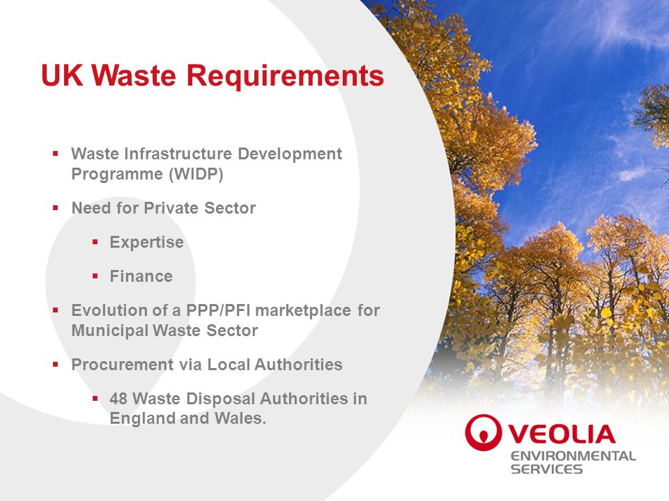 UK Waste Requirements Waste Infrastructure Development Programme (WIDP) Need for Private Sector. Expertise.