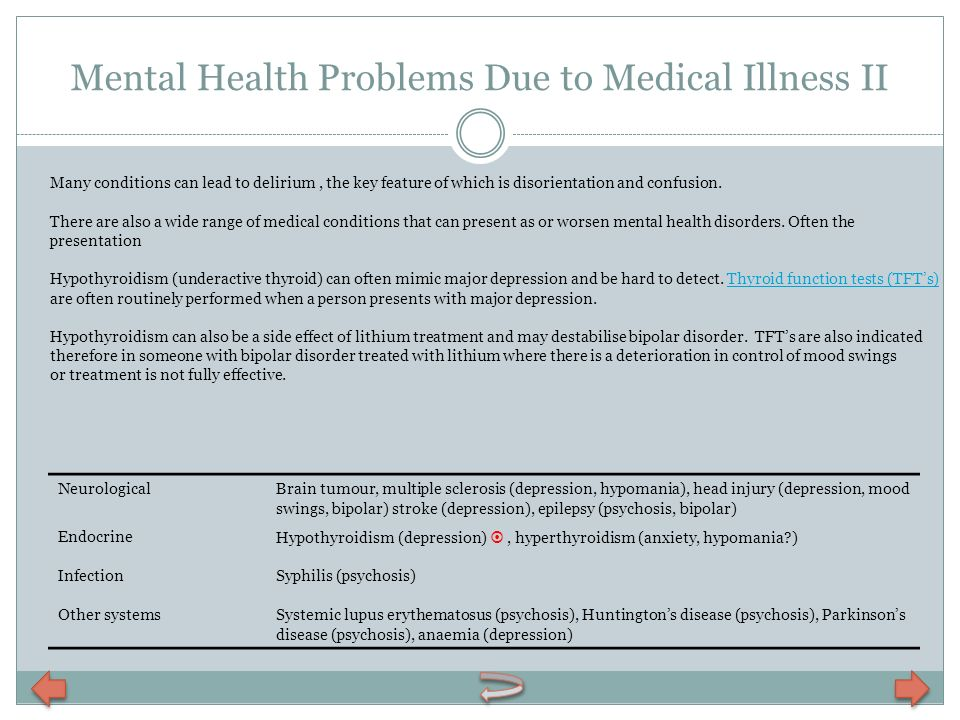 Mental Health Problems Due to Medical Illness II
