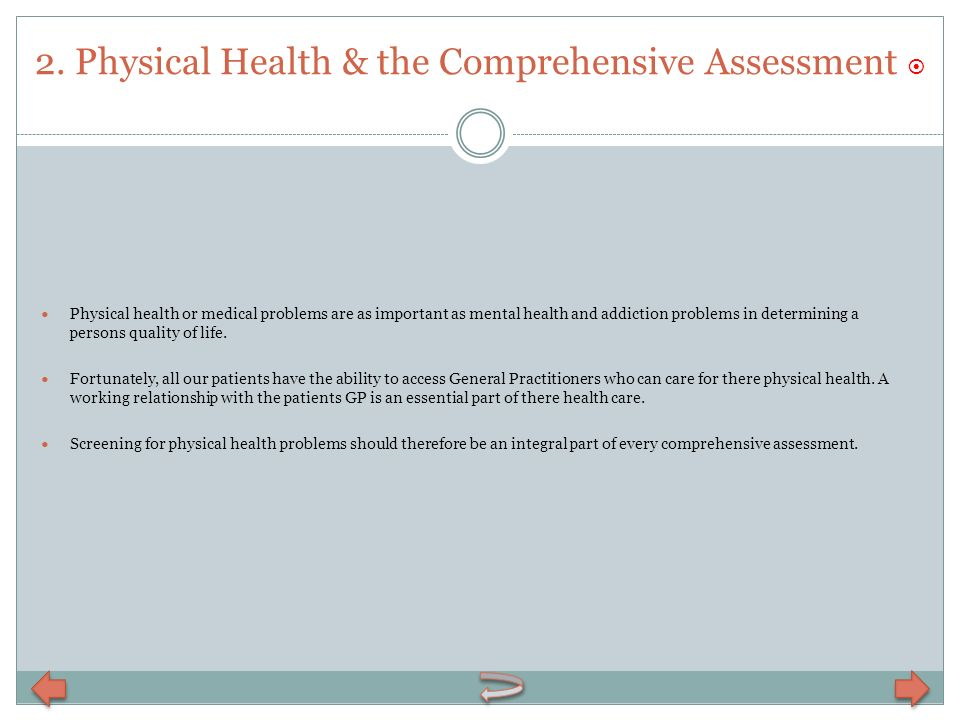 2. Physical Health & the Comprehensive Assessment 