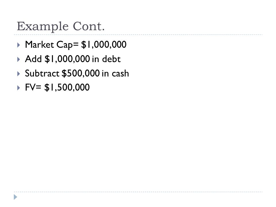 Example Cont. Market Cap= $1,000,000 Add $1,000,000 in debt