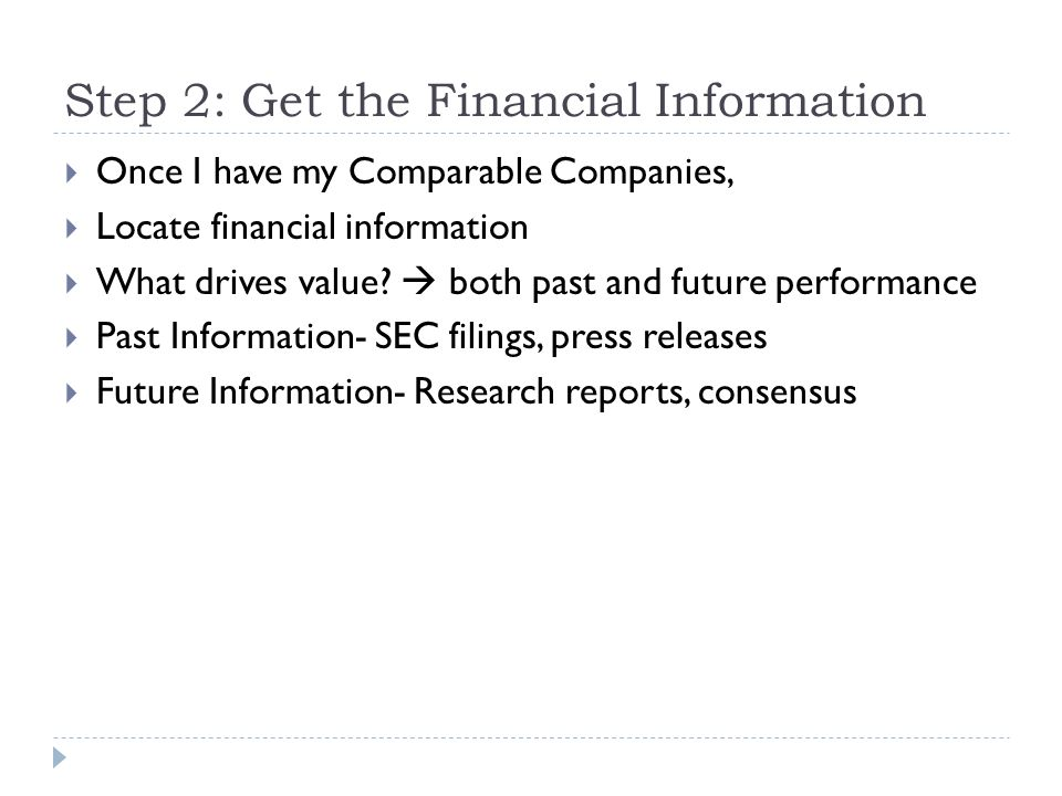 Step 2: Get the Financial Information
