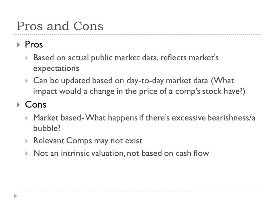 Pros and Cons Pros. Based on actual public market data, reflects market's expectations.