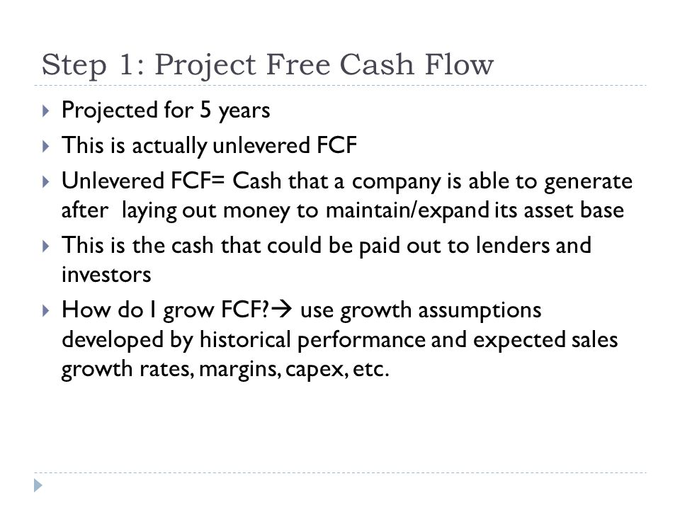 Step 1: Project Free Cash Flow