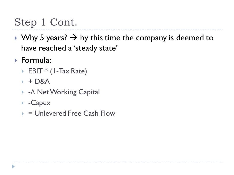 Step 1 Cont. Why 5 years  by this time the company is deemed to have reached a 'steady state' Formula: