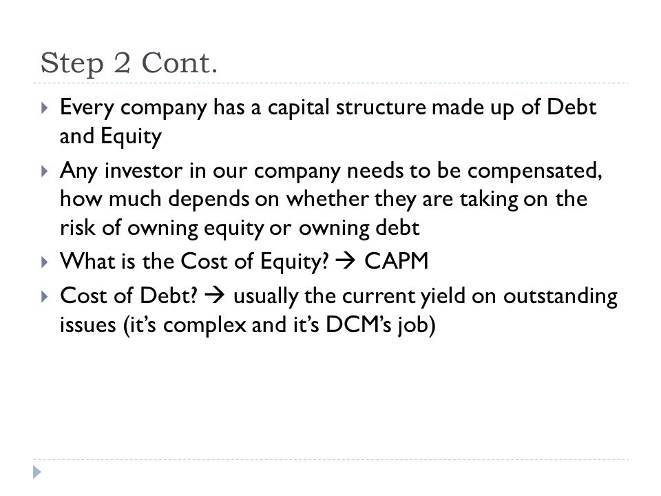 Step 2 Cont. Every company has a capital structure made up of Debt and Equity.