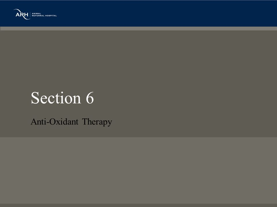 Section 6 Anti-Oxidant Therapy