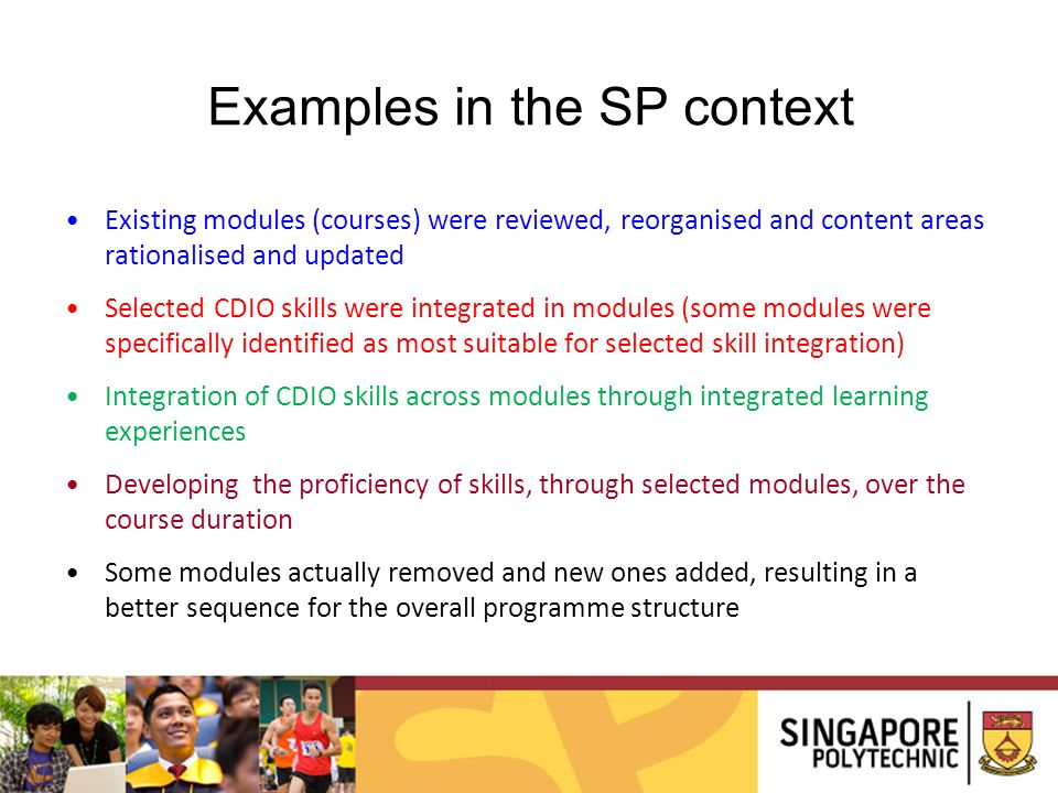 Examples in the SP context
