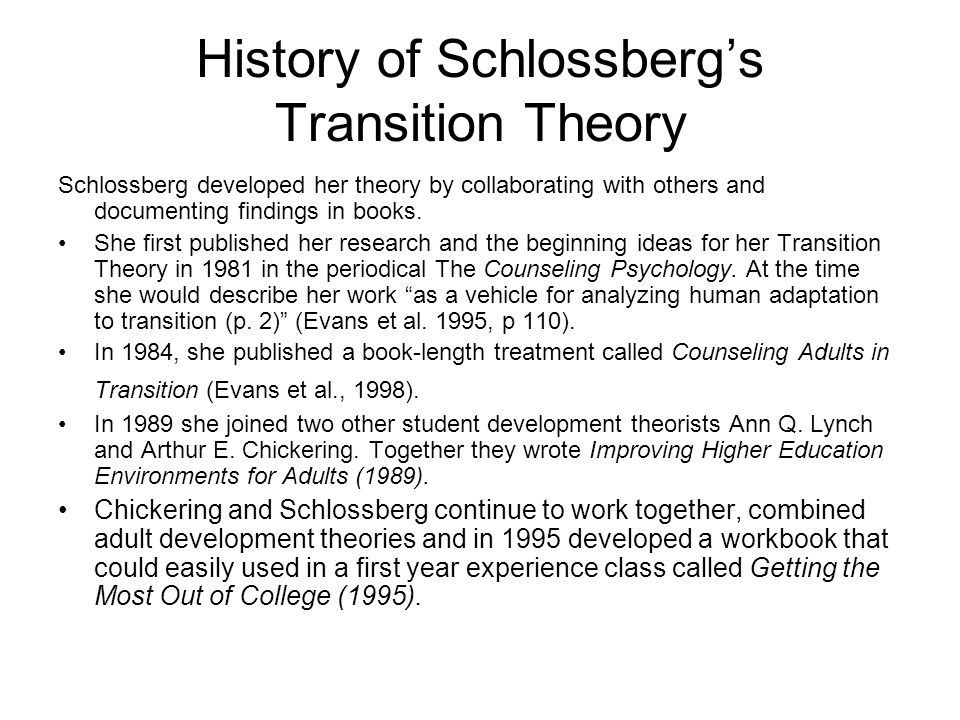 History of Schlossberg's Transition Theory