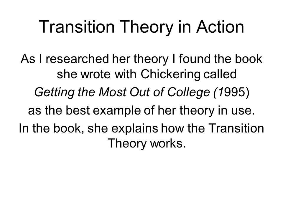 Transition Theory in Action