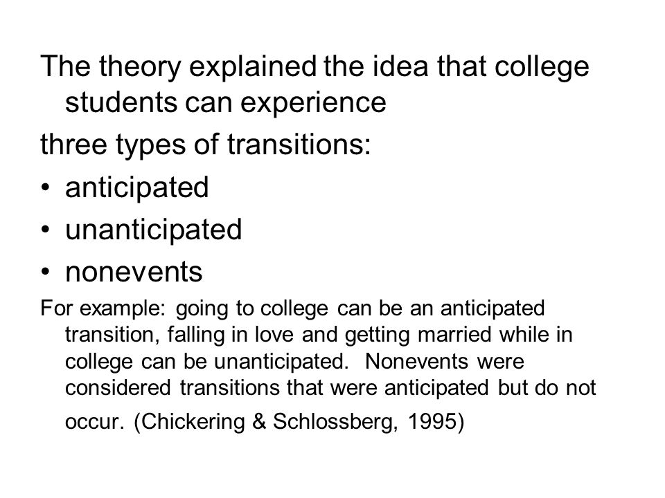 The theory explained the idea that college students can experience