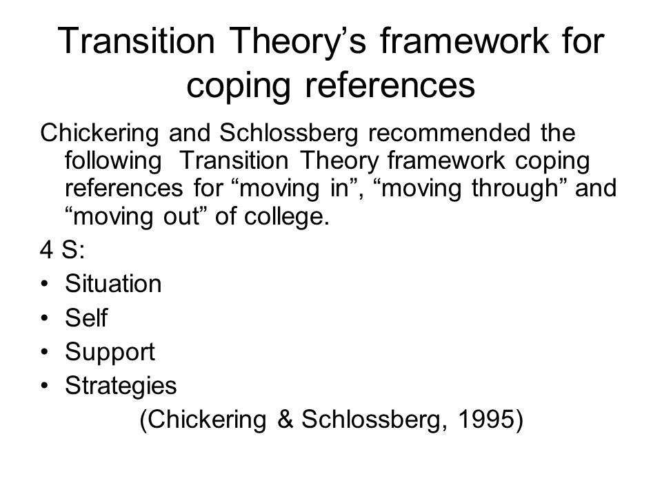Transition Theory's framework for coping references