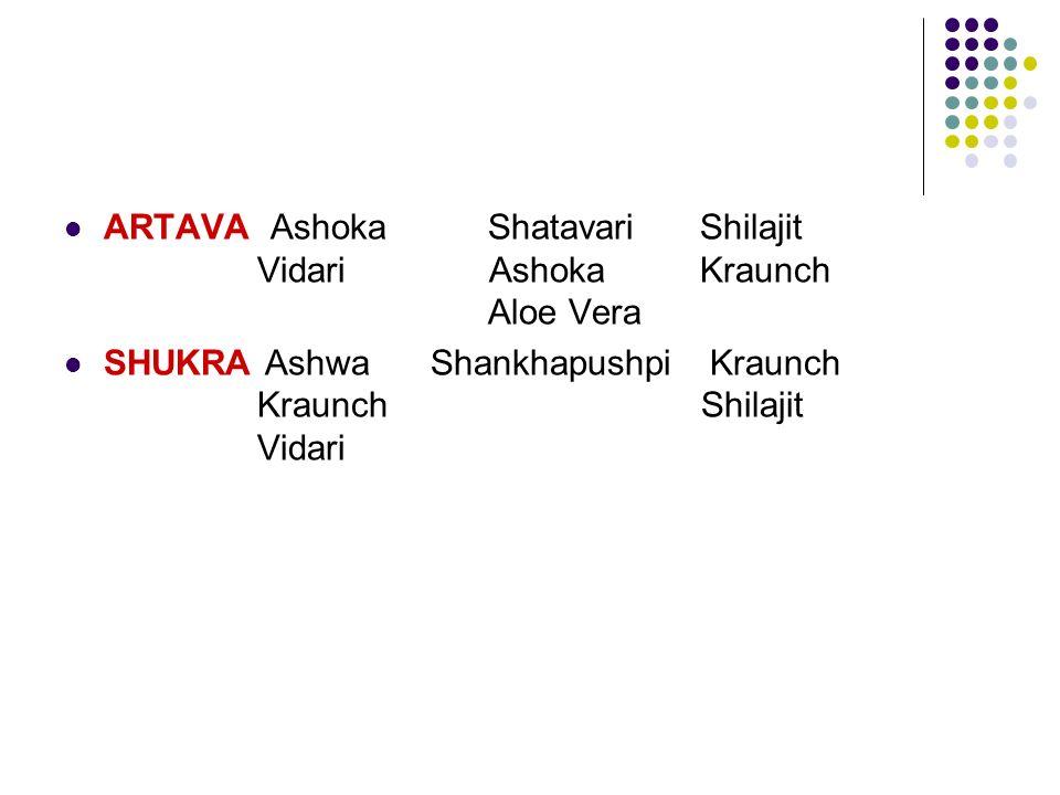 ARTAVA Ashoka Shatavari Shilajit Vidari Ashoka Kraunch Aloe Vera