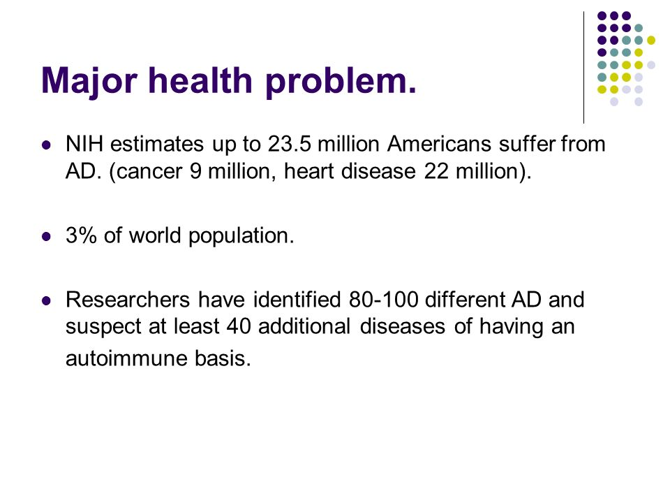 Major health problem. NIH estimates up to 23.5 million Americans suffer from AD. (cancer 9 million, heart disease 22 million).