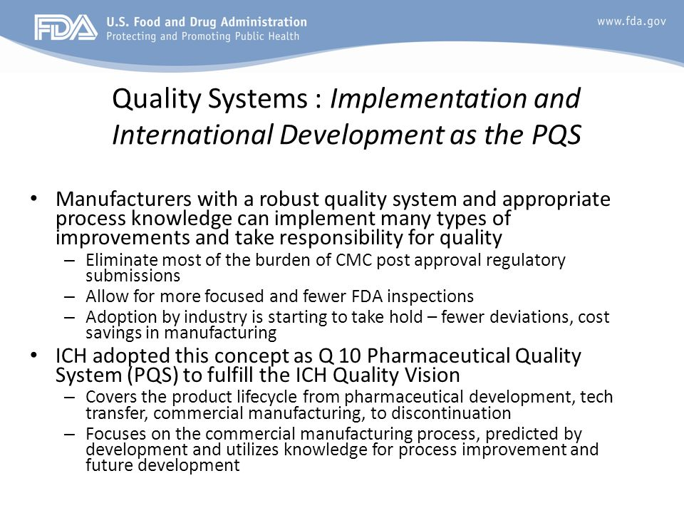 Quality Systems : Implementation and International Development as the PQS