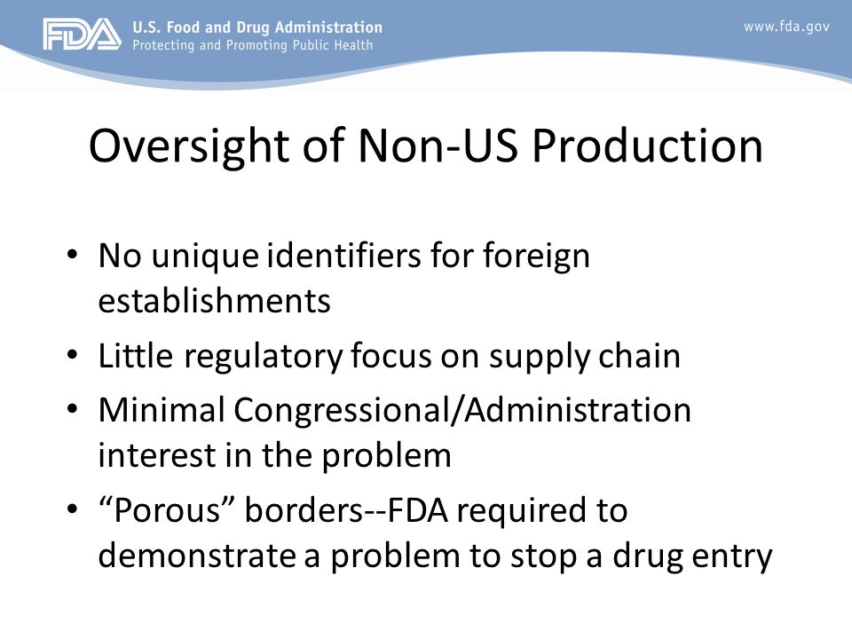 Oversight of Non-US Production