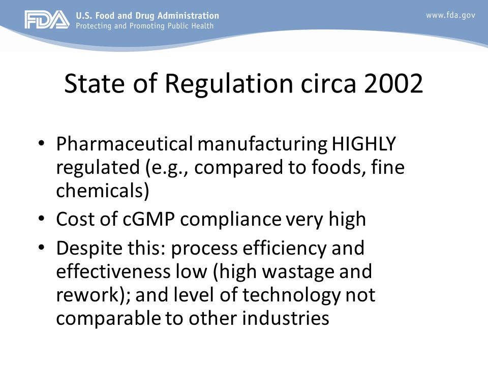 State of Regulation circa 2002