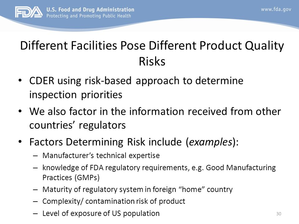 Different Facilities Pose Different Product Quality Risks