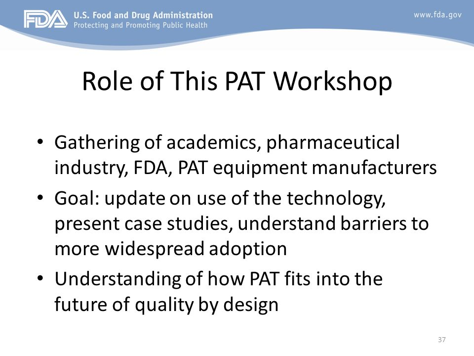 Role of This PAT Workshop