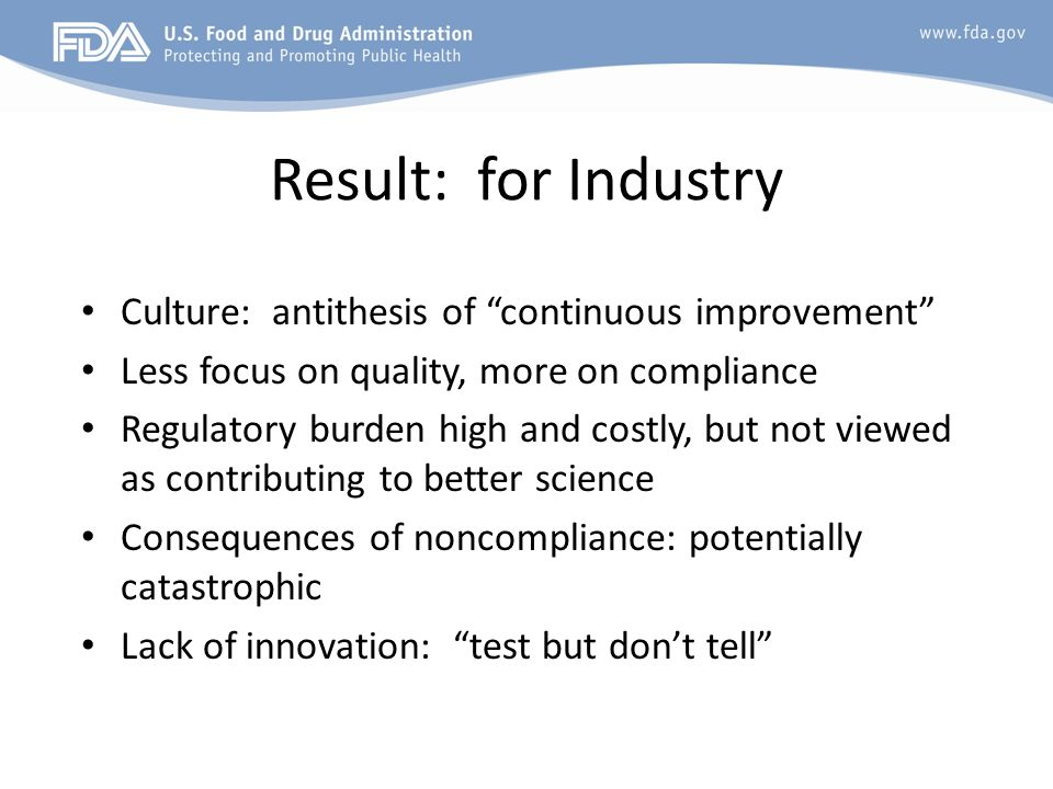 Result: for Industry Culture: antithesis of continuous improvement