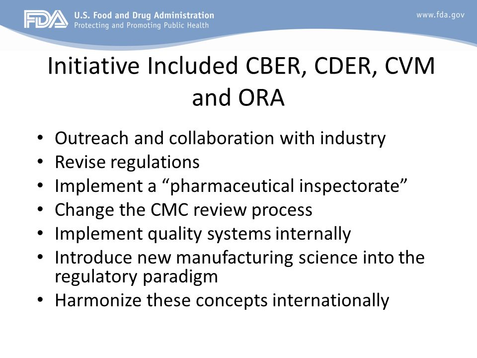Initiative Included CBER, CDER, CVM and ORA