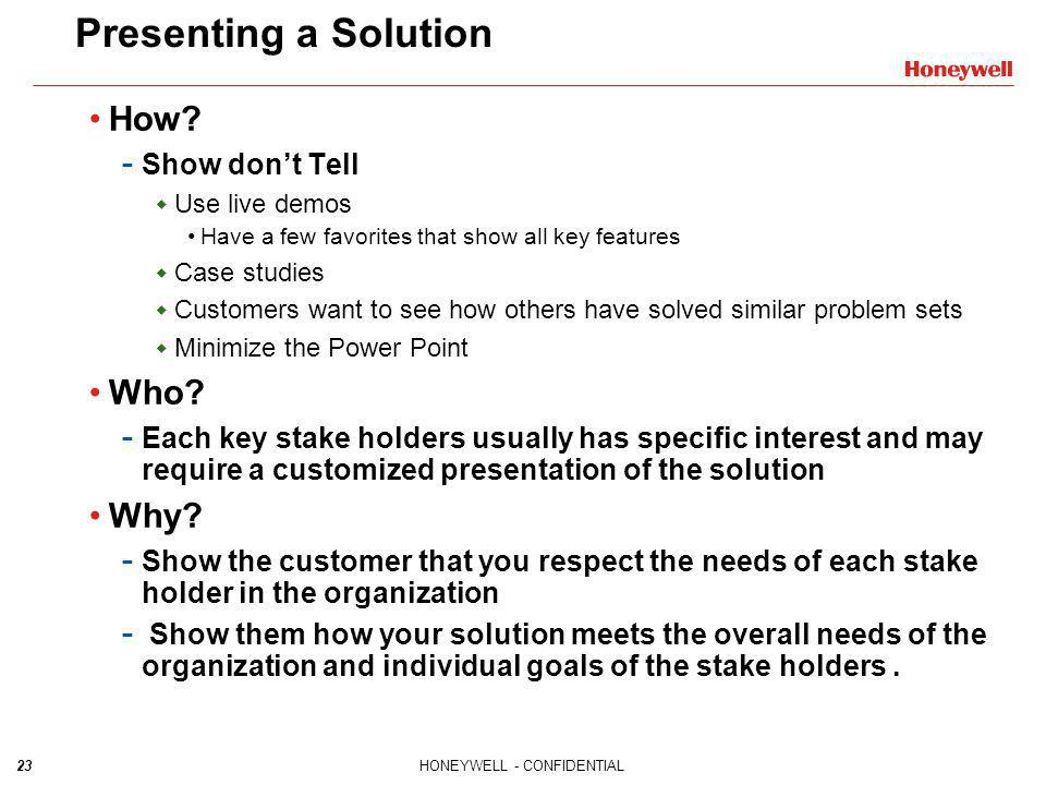 Presenting a Solution How Who Why Show don't Tell