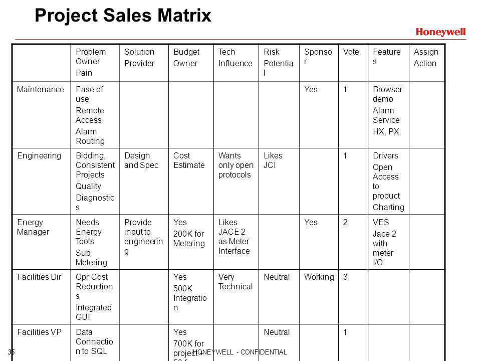 Project Sales Matrix Problem Owner Pain Solution Provider Budget Owner