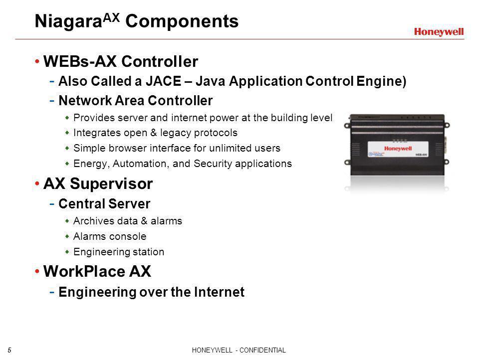 NiagaraAX Components WEBs-AX Controller AX Supervisor WorkPlace AX