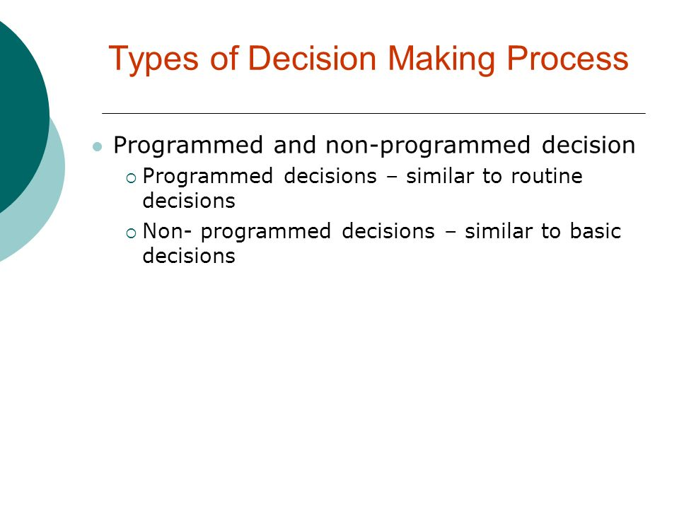 Types of Decision Making Process