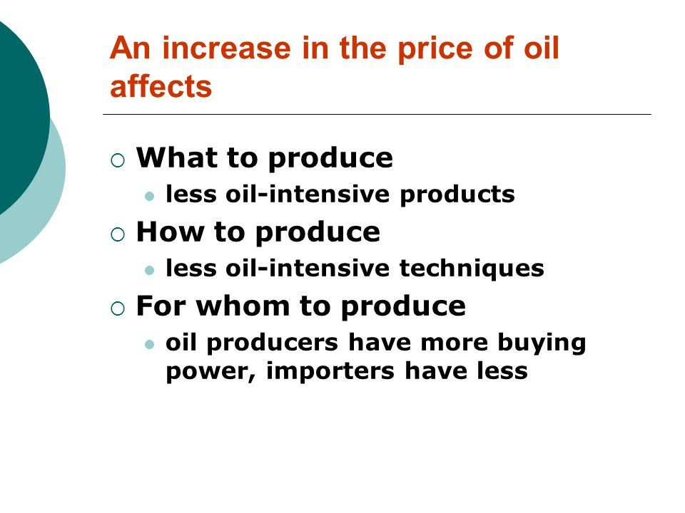 An increase in the price of oil affects