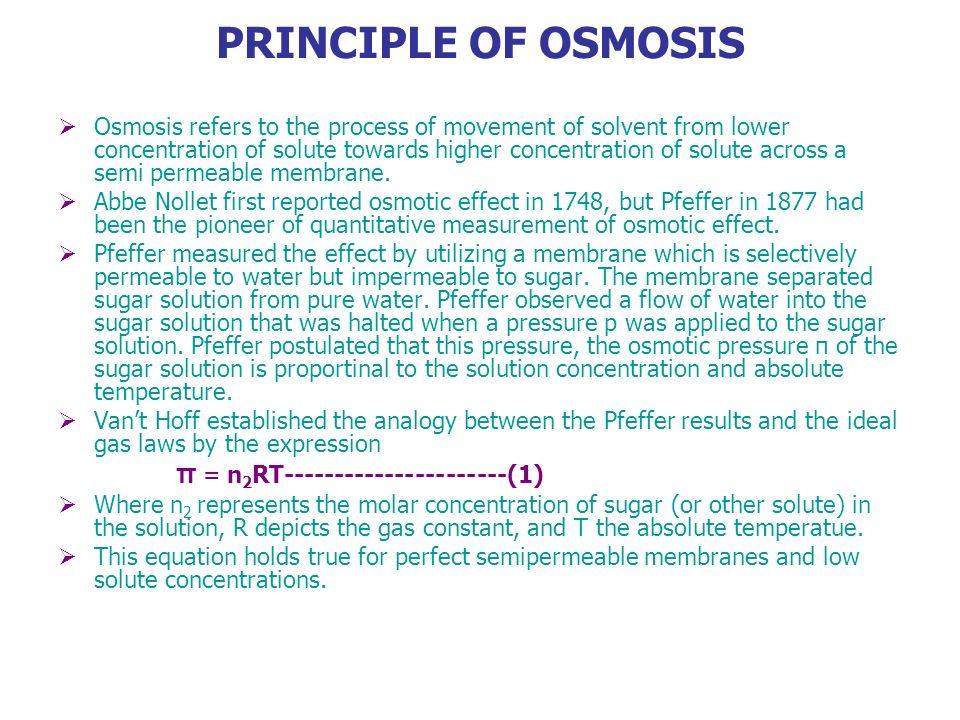 PRINCIPLE OF OSMOSIS π = n2RT----------------------(1)