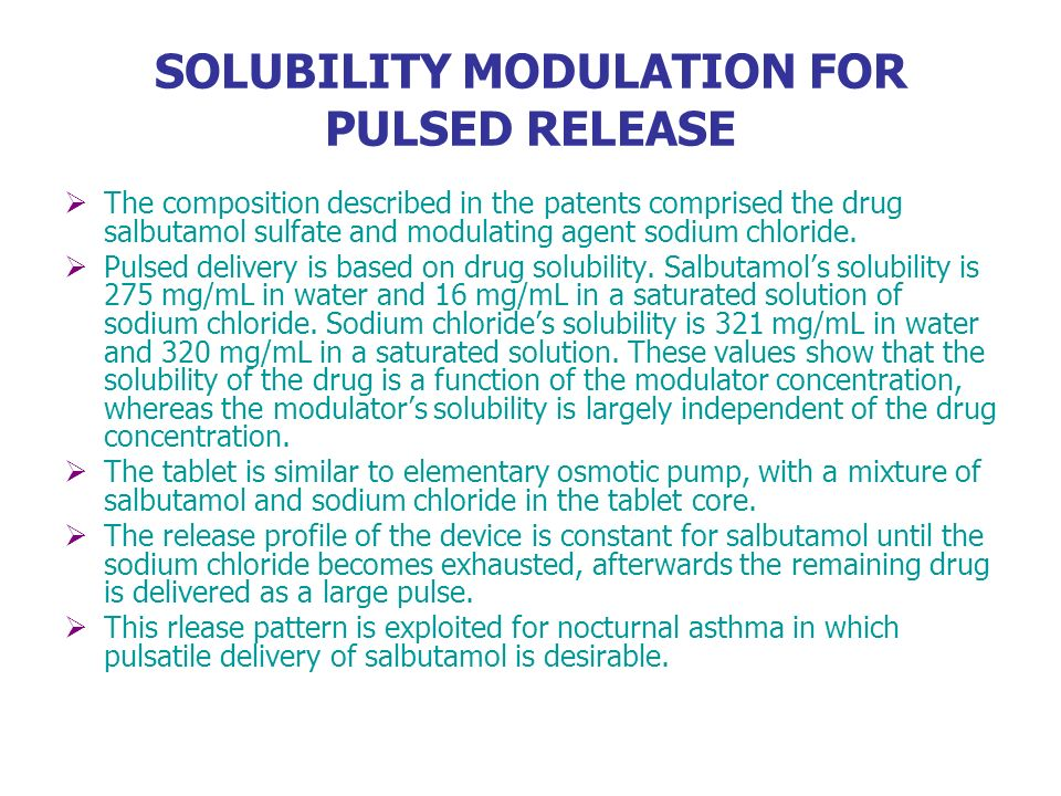 SOLUBILITY MODULATION FOR PULSED RELEASE