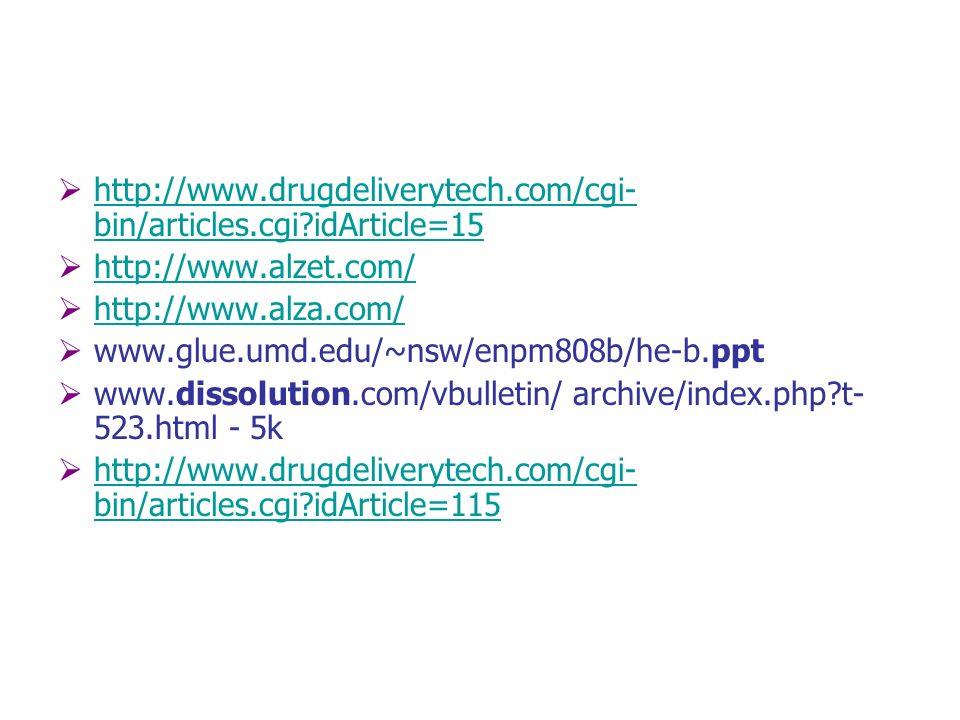 http://www.drugdeliverytech.com/cgi-bin/articles.cgi idArticle=15 http://www.alzet.com/ http://www.alza.com/