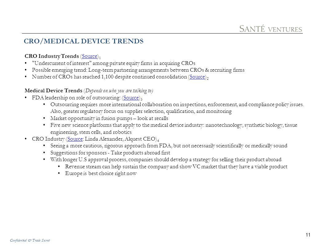 CRO/MEDICAL DEVICE TRENDS