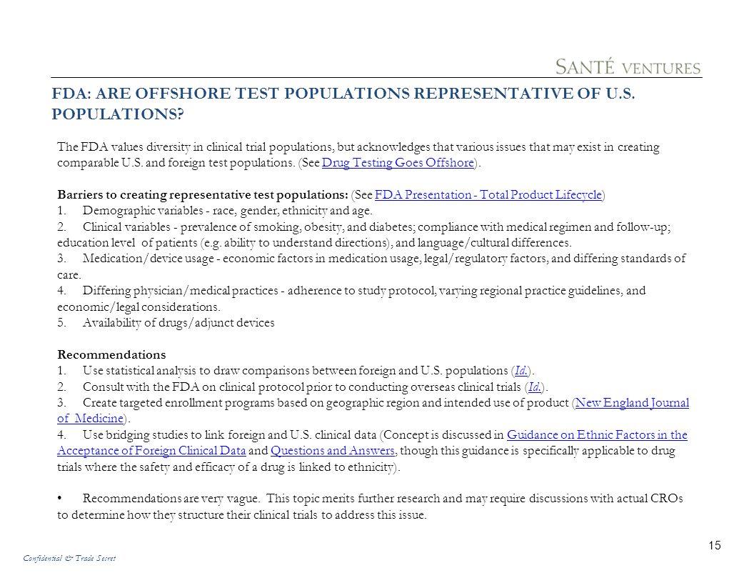 FDA: ARE OFFSHORE TEST POPULATIONS REPRESENTATIVE OF U.S. POPULATIONS