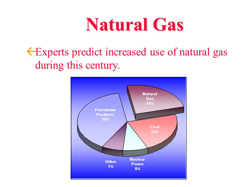 Natural Gas Experts predict increased use of natural gas during this century.