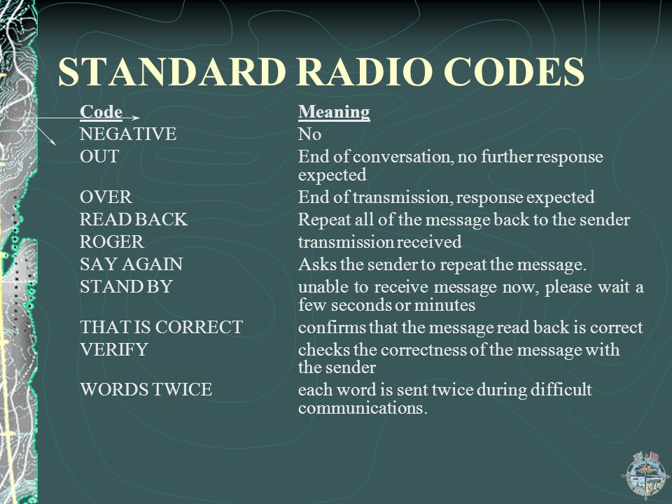 STANDARD RADIO CODES Code Meaning NEGATIVE No
