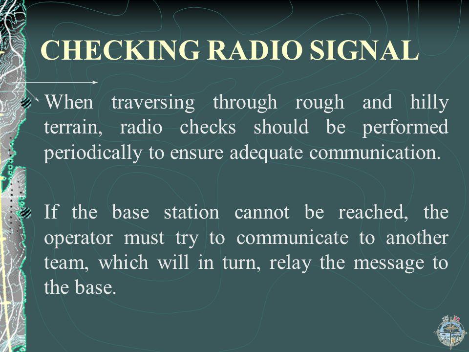 CHECKING RADIO SIGNAL