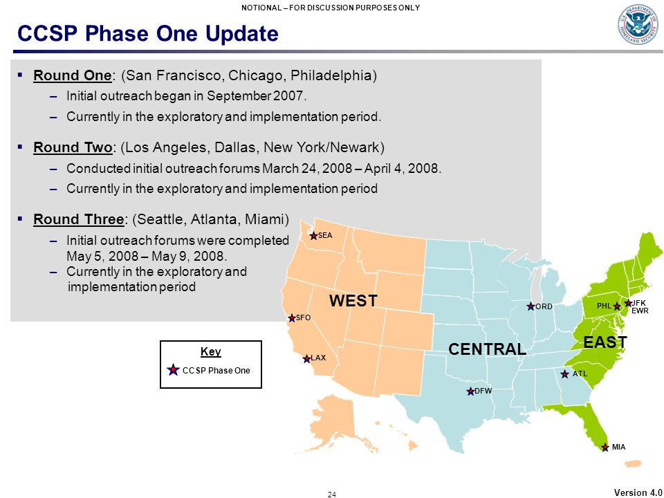CCSP Phase One Update WEST EAST CENTRAL