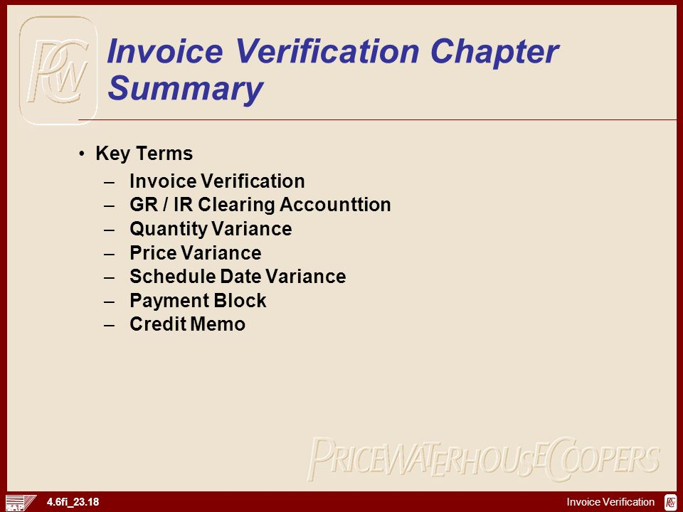Invoice Verification Chapter Summary