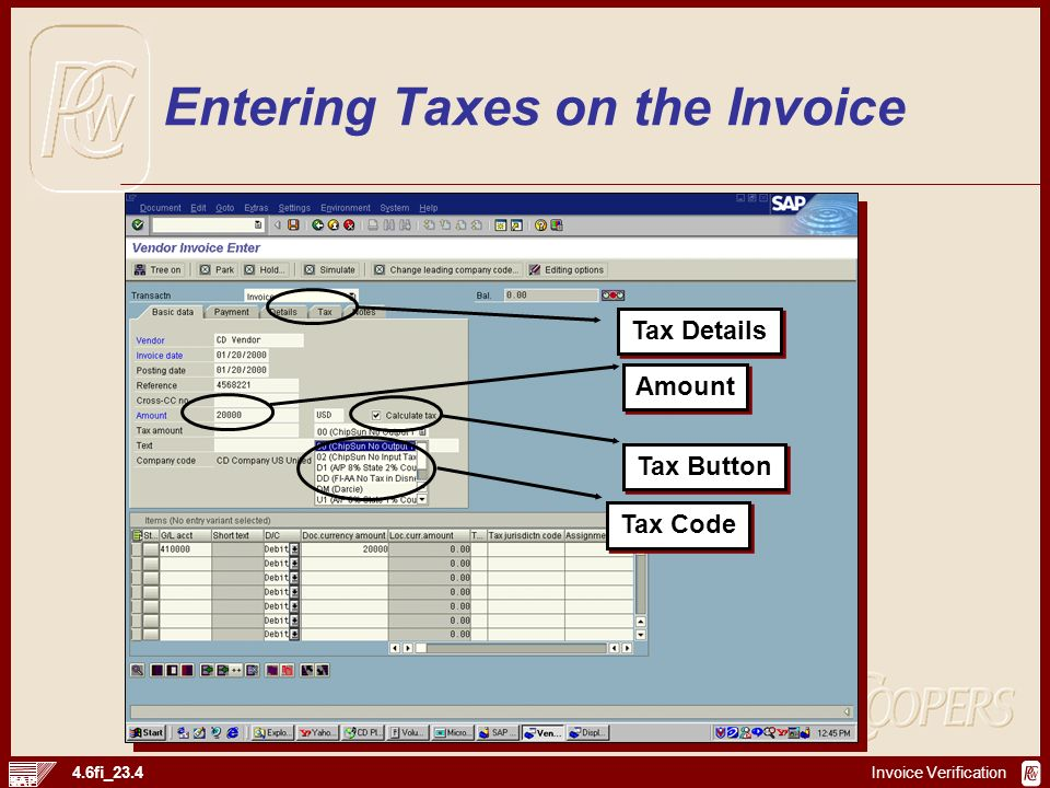 Entering Taxes on the Invoice